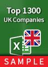Top 1300 UK Companies Excel sample